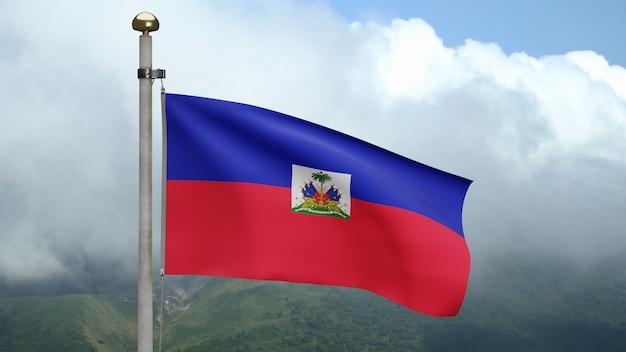 3d, bandeira haitiana balançando com o vento na montanha. bandeira do haiti soprada, seda macia e suave. fundo de estandarte de textura de tecido de pano. use-o para o dia nacional e o conceito de ocasiões do país.