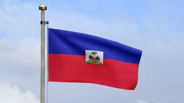 3d, bandeira haitiana balançando no vento com céu azul e nuvens. bandeira do haiti soprada, seda macia e suave. fundo de estandarte de textura de tecido de pano. use-o para o dia nacional e o conceito de ocasiões do país.