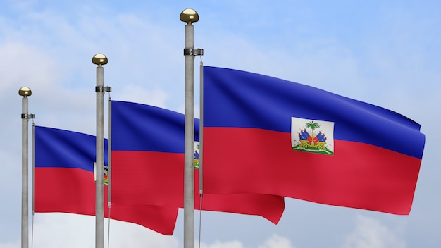 3d, bandeira haitiana balançando no vento com céu azul e nuvens. feche acima da bandeira do haiti soprando, seda macia e suave. fundo de estandarte de textura de tecido de pano.