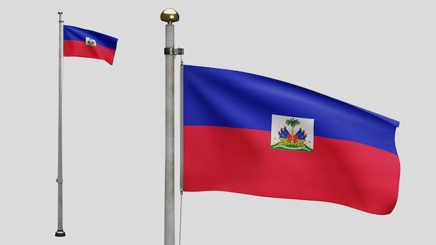 3d, bandeira haitiana balançando no vento. feche acima da bandeira do haiti soprando, seda macia e suave. fundo de estandarte de textura de tecido de pano. use-o para o dia nacional e o conceito de ocasiões do país.