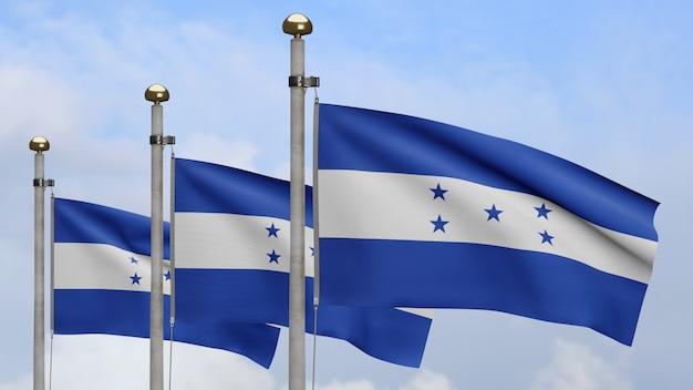 3d, bandeira hondurenha balançando no vento com céu azul e nuvens. perto da bandeira de honduras soprando, seda macia e suave. fundo de estandarte de textura de tecido de pano.