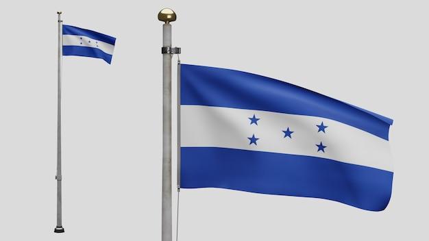 3d, bandeira hondurenha balançando no vento. perto da bandeira de honduras soprando, seda macia e suave. fundo de estandarte de textura de tecido de pano. use-o para o dia nacional e o conceito de ocasiões do país.