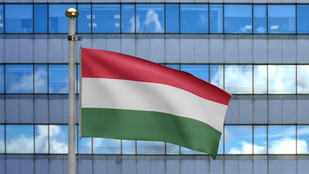 3d, bandeira húngara balançando no vento com a cidade de arranha-céus modernos. perto da bandeira da hungria soprando, seda macia e suave. fundo de estandarte de textura de tecido de pano.