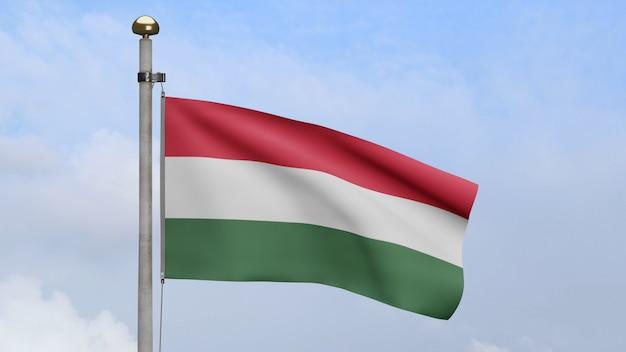 3d, bandeira húngara balançando no vento com céu azul e nuvens. bandeira da hungria soprando, seda macia e lisa. fundo de estandarte de textura de tecido de pano. use-o para o dia nacional e o conceito de ocasiões do país.