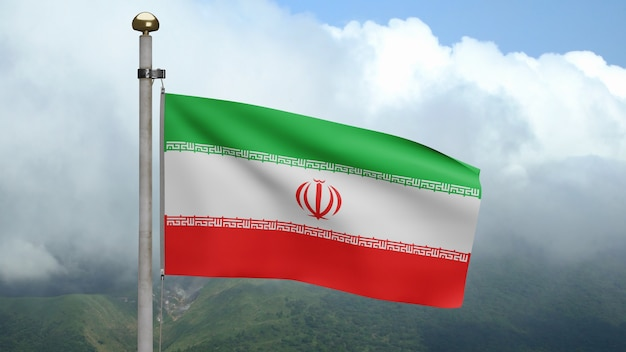 3d, bandeira iraniana balançando com o vento na montanha. bandeira do irã soprando, seda macia e suave. fundo de estandarte de textura de tecido de pano. use-o para o dia nacional e o conceito de ocasiões do país.