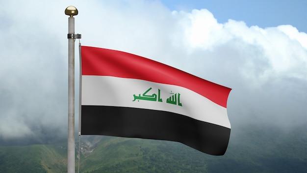 3d, bandeira iraquiana balançando com o vento na montanha. perto da bandeira do iraque soprando em seda macia. fundo de estandarte de textura de tecido de pano. dia nacional e conceito de ocasiões do país. Foto Premium