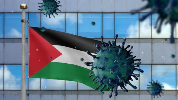 3d, bandeira palestina acenando com a cidade de arranha-céus modernos e o conceito de coronavirus 2019 ncov. surto asiático na palestina, coronavírus influenza como uma pandemia. vírus do microscópio covid19