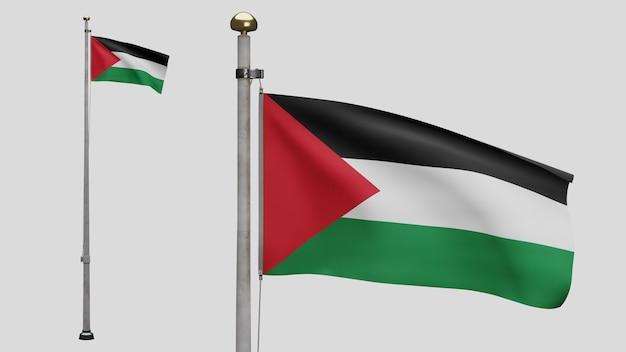 3d, bandeira palestina balançando com o vento. bandeira da palestina em seda macia e suave. fundo de estandarte de textura de tecido de pano. use-o para o dia nacional e o conceito de ocasiões do país.