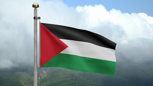 3d, bandeira palestina balançando com o vento na montanha. perto da bandeira da palestina soprando e seda lisa. fundo de estandarte de textura de tecido de pano.