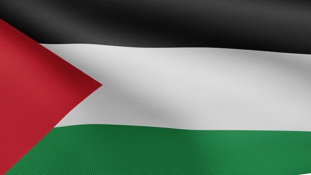 3d, bandeira palestina balançando com o vento. perto da bandeira da palestina soprando e seda lisa. fundo de estandarte de textura de tecido de pano.