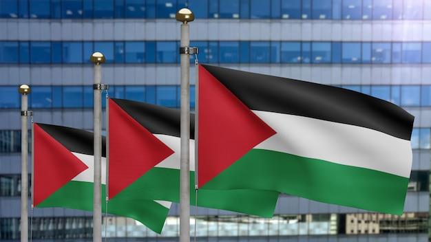 3d, bandeira palestina balançando no vento com a cidade de arranha-céus modernos. bandeira da palestina soprando seda lisa. fundo de estandarte de textura de tecido de pano. dia nacional e conceito de ocasiões do país.