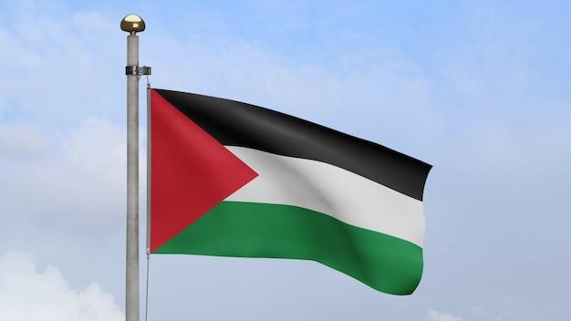 3d, bandeira palestina balançando no vento, com céu azul e nuvens. bandeira da palestina soprando em seda macia. fundo de estandarte de textura de tecido de pano. dia nacional e conceito de ocasiões do país.