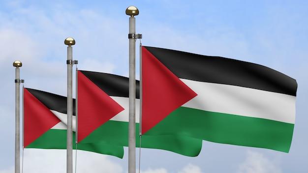 3d, bandeira palestina balançando no vento, com céu azul e nuvens. perto da bandeira da palestina soprando e seda lisa. fundo de estandarte de textura de tecido de pano.
