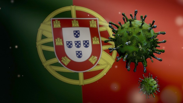 3d, bandeira portuguesa acenando com surto de coronavírus infectando o sistema respiratório como uma gripe perigosa. vírus da gripe covid 19 do tipo com a bandeira nacional de portugal a soprar ao fundo.