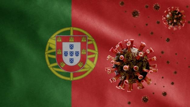 3d, bandeira portuguesa acenando com surto de coronavírus infectando o sistema respiratório como uma gripe perigosa. vírus da influenza tipo covid 19 com expansão de molde nacional de portugal