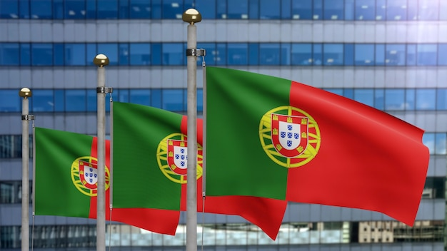 3d, bandeira portuguesa balançando no vento com a cidade moderna de arranha-céus. bandeira de portugal soprando seda lisa. fundo de estandarte de textura de tecido de pano. use-o para o dia nacional e o conceito de ocasiões do país.