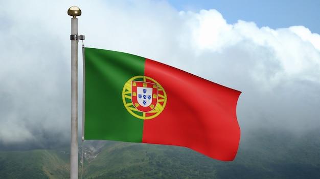 3d, bandeira portuguesa balançando no vento com céu azul e nuvens. bandeira de portugal soprando seda macia. fundo de estandarte de textura de tecido de pano. use-o para o dia nacional e o conceito de ocasiões do país.