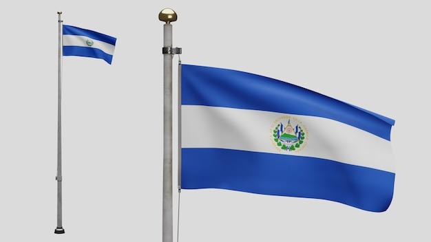 3d, bandeira salvadorenha balançando com o vento. close up da bandeira de salvador soprando, seda macia e lisa. fundo de estandarte de textura de tecido de pano. use-o para o dia nacional e o conceito de ocasiões do país.