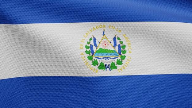 3d, bandeira salvadorenha balançando com o vento. close up da bandeira de salvador soprando, seda macia e lisa. fundo de estandarte de textura de tecido de pano.