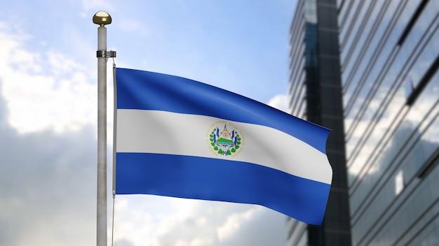 3d, bandeira salvadorenha balançando no vento com a cidade de arranha-céus modernos. bandeira de salvador soprando seda lisa. fundo de estandarte de textura de tecido de pano. use-o para o dia nacional e o conceito de ocasiões do país.