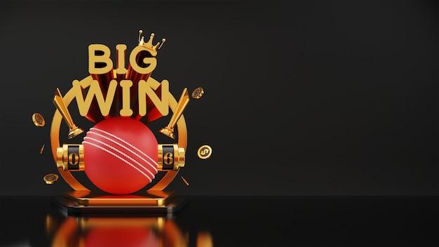 3d big win slot ou máquina de numeração de críquete com moedas de dólar, copa do troféu de ouro, coroa e espaço de cópia.