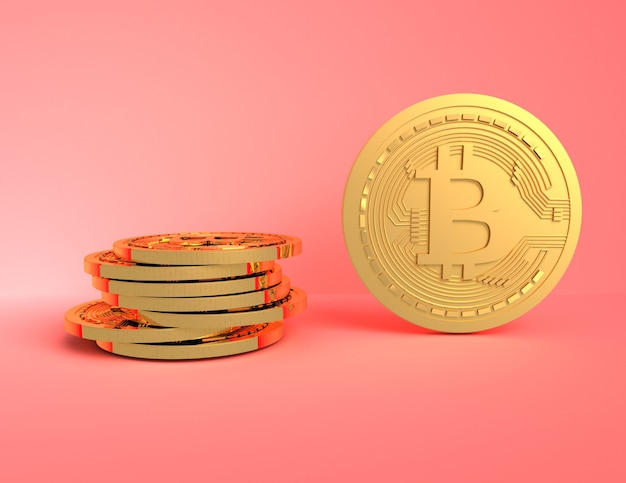 3d bitcoins concept.3d ilustração renderizada