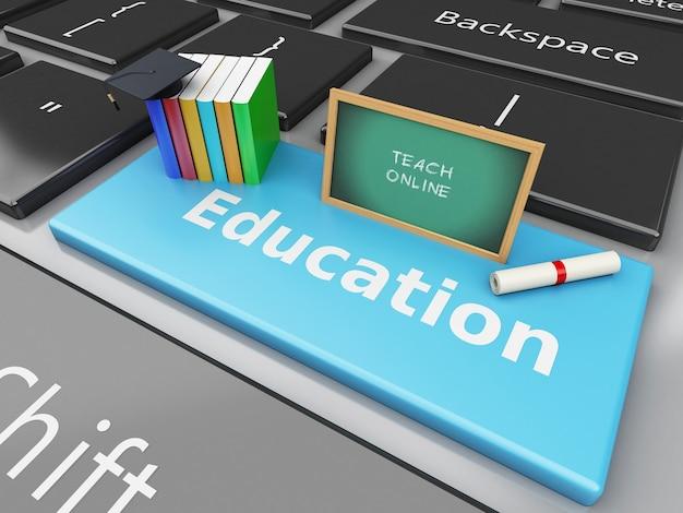 3d blackboard, chapéu de formatura e livros no teclado do computador.