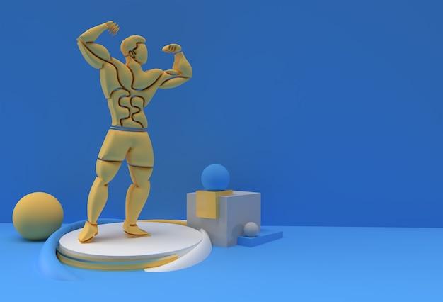 3d bodybuilding sport and activity 3d render art drawing illustration.