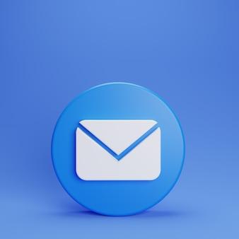 3d botão de bate-papo e-mail com fundo azul