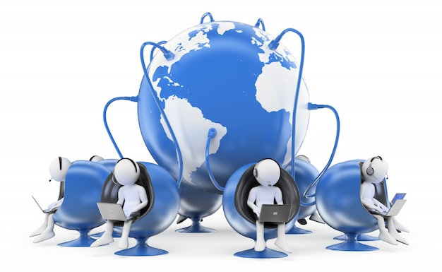 3d brancos trabalhando no call center global