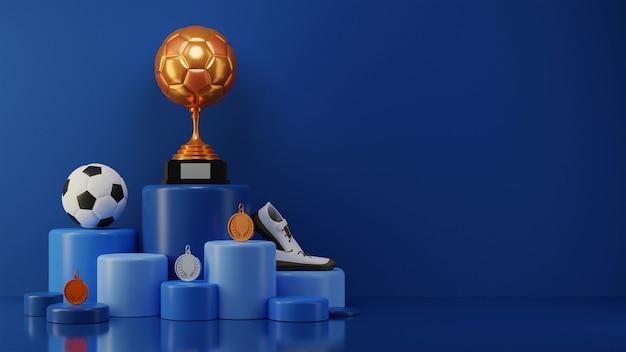 3d bronze soccer trophy com futebol, medalha, sapatos em diferentes níveis, azul pódio e espaço de cópia.