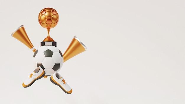 3d bronze soccer trophy cup com futebol, chifres de vuvuzela, sapatos e espaço de cópia no fundo branco.