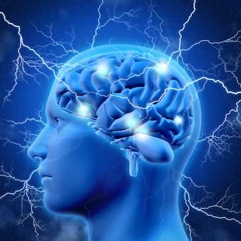 3d cabeça masculina e cérebro com relâmpagos