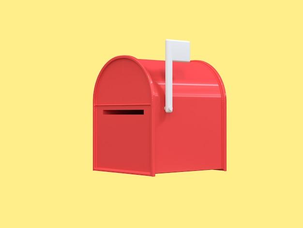 3d caixa de correio vermelho abstrato estilo cartoon renderização em 3d amarelo