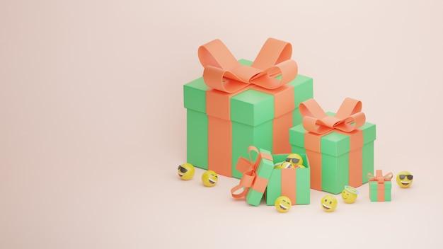 3d caixa de feliz aniversário presente e emoji