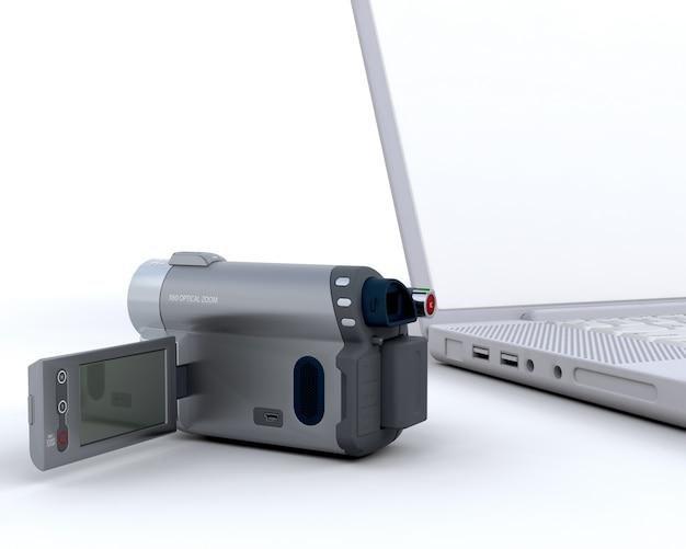 3d came acessível ao lado de um laptop isolado no branco