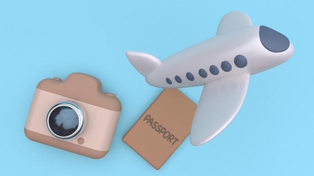 3d camera passport plane flying estilo minimalista dos desenhos animados azul