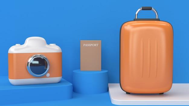 3d cartoon estilo abstrato câmera bagagem passaporte renderização em 3d