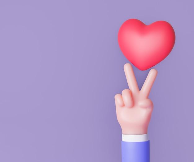 3d cartoon mão sinal de vitória de dois dedos com coração vermelho. renderização de ilustração 3d.