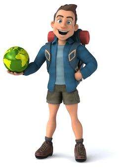 3d cartoon personagem mochileiro