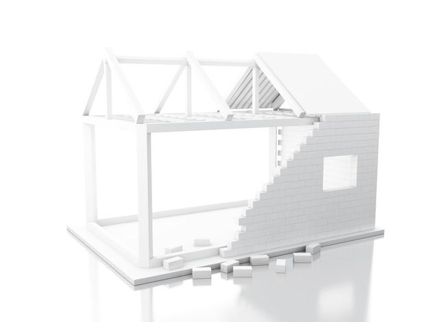 3d casa branca em construção