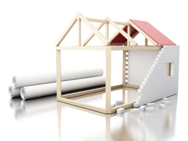 3d casa branca em rolos de construção de plantas de arquitetura