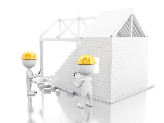 3d casa em construção com construtores