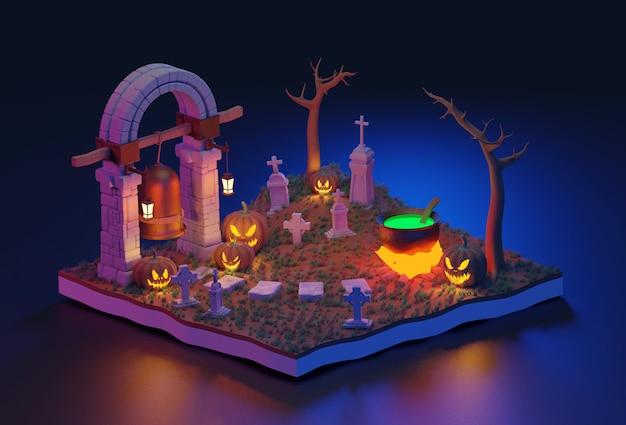 3d cena isométrica de halloween