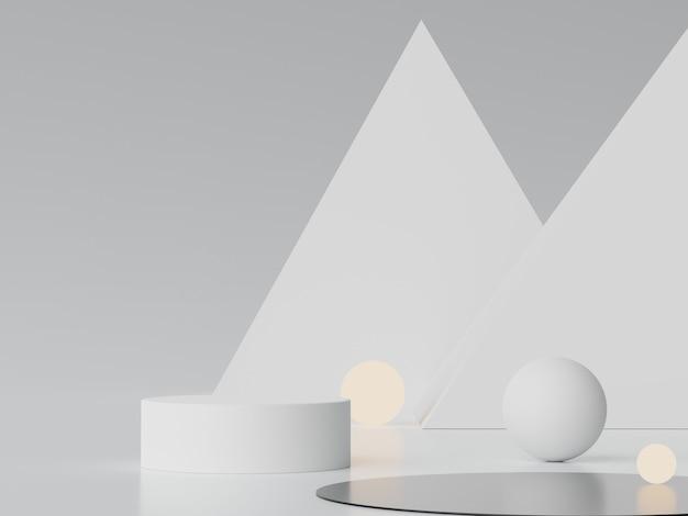 3d cena mínima abstrata de display pastel e apresentação de produtos cosméticos