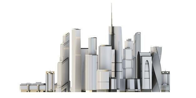 3d cidade isolada no bacground branco. 3d render imagem.