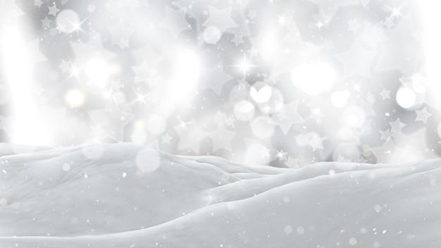 3d close-up de neve em um fundo estrelado prateado
