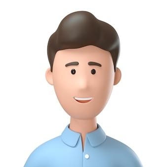 3d close-up retrato de homem sorridente.