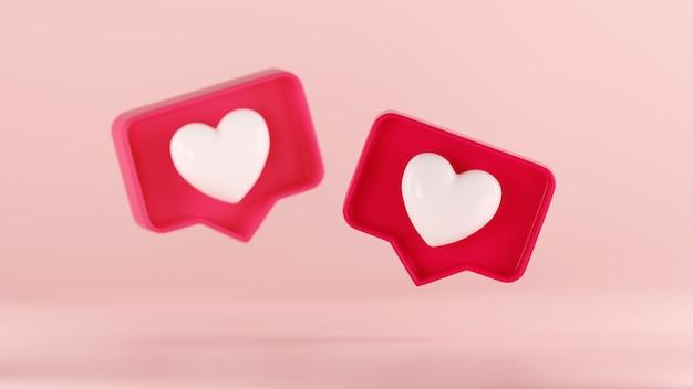 3d, como o ícone de um coração em uma caixa de balão vermelha isolada em um fundo rosa pastel