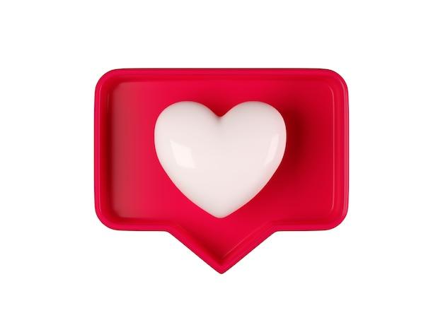 3d como o ícone de um coração em uma caixa de bolha vermelha isolada no fundo branco